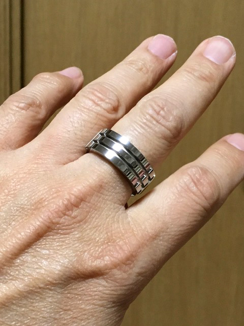 Titanium ring on client from Japan