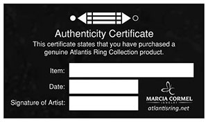 Atlantis Ring Authenticity Certificate
